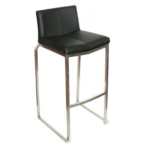 "Amao Stackable Bar Stool ""Black"" on S/S Frame"